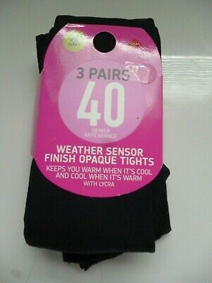 3 Pairs 40 Denier  Appearance Weather Sensor Finish Opaque With Lycra Tights