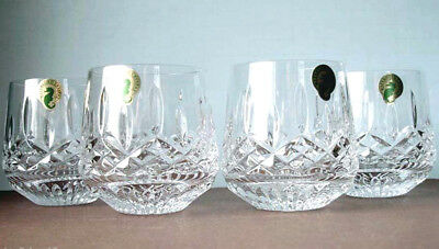 Waterford Lismore Roly Poly Set Of 4 Old Fashioned Tumbler DOF Glasses New Boxed