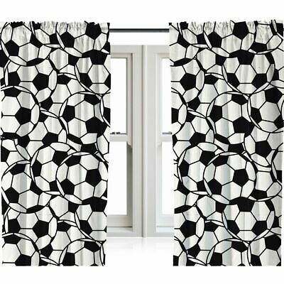 "Football Readymade Curtains Black White Kids Bedroom 54"" Drop"