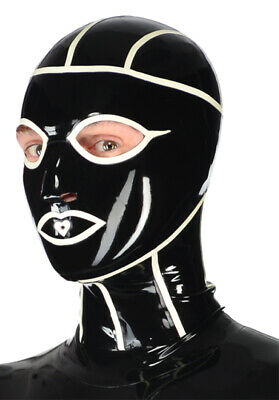 Latex Catsuit Rubber Gummi Hood Full Face White Seam Lines Mask Customized .4mm