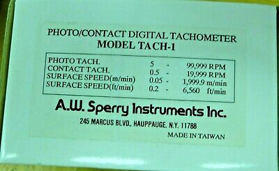 A.w.sperry Instruments  Tach-1 Tachometer