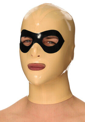 Latex Catsuit Rubber Gummi Hood Full Face Contrasting Eye-Mask Customized .4mm
