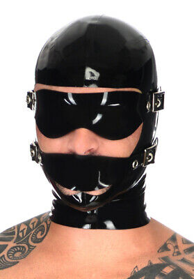Latex Rubber Gummi Adjustable Hood Blindfold Open Face Mask Cool Customized .4mm
