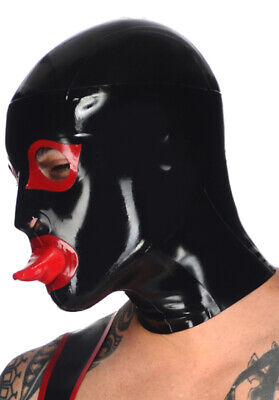 Latex Rubber Gummi Full Face Hood Tongue Condom Mask Cool Customized 0.4mm