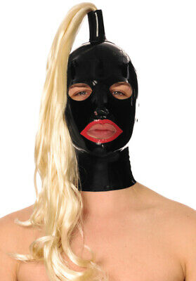 Latex Rubber Gummi Pony Tail Wig Full Face Mouth Hole Hood Mask Customized 0.4mm