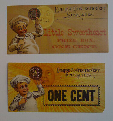 1900's Eclipse Confectionery Lot of 2 different Original One cent coupon