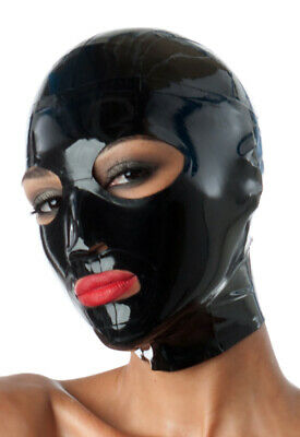 Latex Catsuit Rubber Gummi Full Face Female Sexy Hood Mask Cool Customize 0.4mm