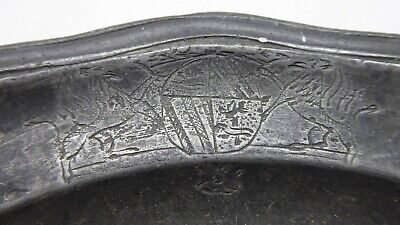 Antique Georgian Pewter Plate With Engraved Coat Of Arms  & Lid Cover