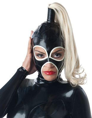 Latex Catsuit Rubber Gummi Big Eyes Single Wigs Sexy Cool Hood Customized 0.4mm