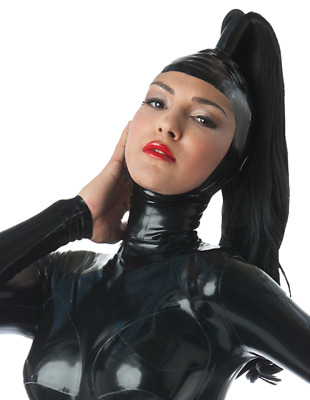 Latex Catsuit Rubber Gummi Open Face Without Wig Sexy Cool Hood Customized 0.4mm