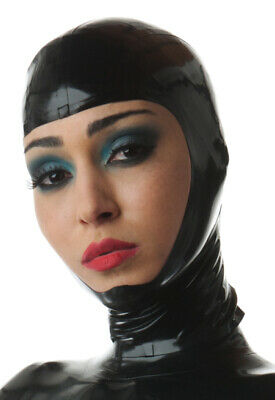 Latex Catsuit Rubber Gummi Open Face Unique Queen Sexy Cool Hood Customize 0.4mm