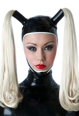 Latex Catsuit Rubber Gummi Open Face Double Wigs Sexy Cool Hood Customized 0.4mm