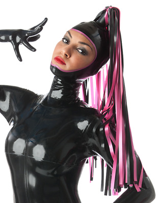 Latex Catsuit Rubber Gummi Open Face Colorful Streamers Sex Hood Customize 0.4mm