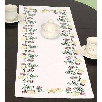 """Jack Dempsey Stamped Table Runner/scarf 15""""x42""""-strawberries"""