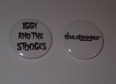 IGGY AND THE STOOGES / THE STOOGES - 2 x BADGES * NEW * D PIN 25mm (SET # 2)