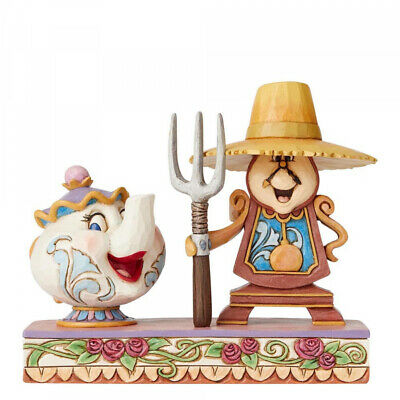NEW 2019 Disney Traditions Mrs Potts & Cogsworth Workin Round the Clock Figurine