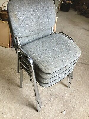 4  Modern Stacking Chairs Chrome Frames Waiting Room Conference Office 16/4/V