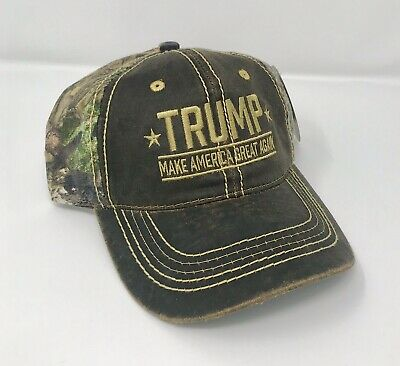 Donald Trump Make America Great Again Hat with Mossy Oak Camo Embroidered NWT