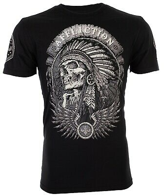 AFFLICTION Mens T-Shirt THUNDERFOOT Indian BLACK Motorcycle Biker UFC $58 NWT