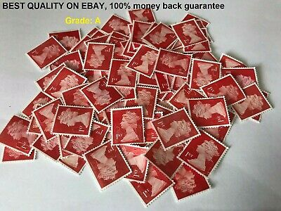 100 1st Class (First) RED Unfranked Stamps Off Paper No Gum Security CHEAPEST!!!