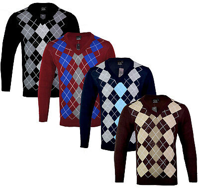 Mens Argyle V Neck Long Sleeve Sweater Jumper Golf Casual S-XXL