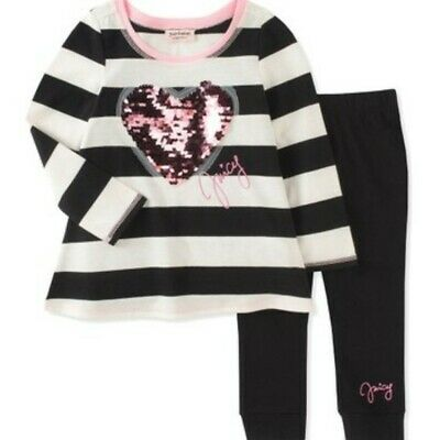 Juicy Couture Girls Black  & White striped Tunic with sequined heart & leggings