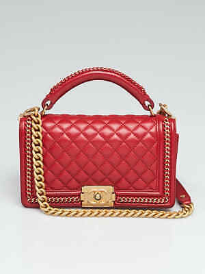 36dbe3a7638b Chanel Red Quilted Lambskin Leather Chain Top Handle Medium Boy Bag