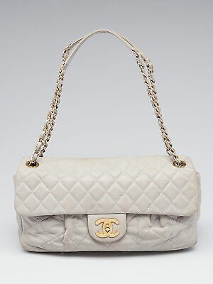8109584f91c CHANEL GREY QUILTED Iridescent Calfskin Leather Chic Quilt Flap Bag ...