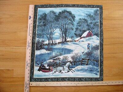 Vintage Winter Scene Sleigh Horse Creek Sunset  Cotton Quilt Fabric Panel