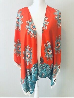 09f03d181c Gianni Bini Tassel Kimono Open Front Blouse Coverup Orange Teal Paisley  Size XS