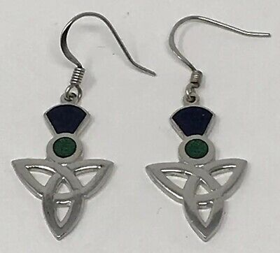 41311bb1f Sterling Silver Celtic Trinity Knot Drop Dangle Earrings French Hook Blue  Green