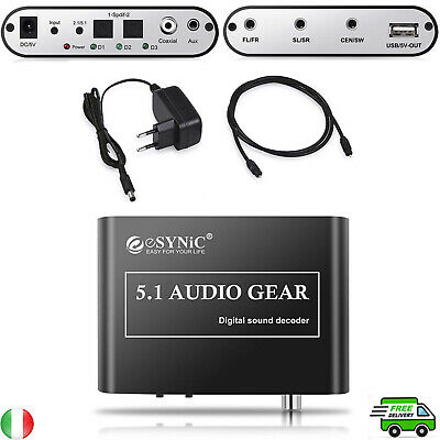 Decodificatore convertitore analogico audio digital DAC 5.1 supporta DTS AC3 R/L