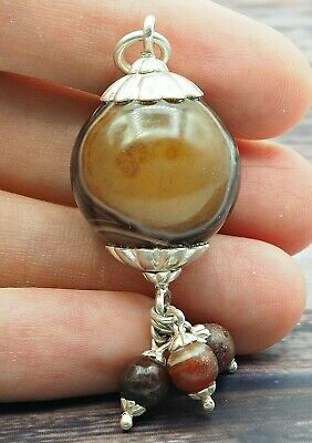 Old Eye Agate Indus Valley Sterling Silver Small Ancient Eye Agate Bead Pendant