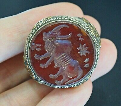 Antique Carnelian Intaglio Ancient Bison STERLING SILVER with Stripped Trim Ring