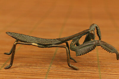 chinese Old bronze hand carving Mantis statue figure Noble gift home decoration