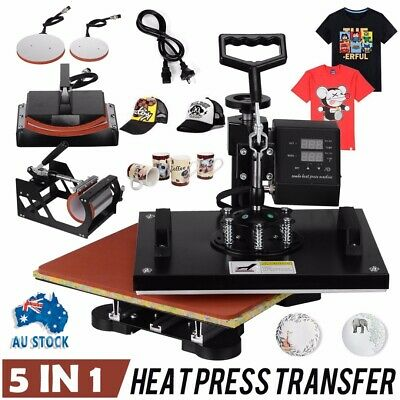 5In1 Digital Heat Press Transfer Sublimation Machine T-Shirt Mug Hat Cup 1250W