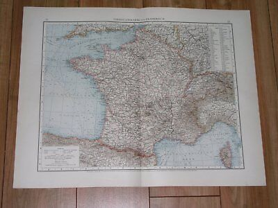 1896 Antique Original Map Of France / Showing German Alsace Lorraine