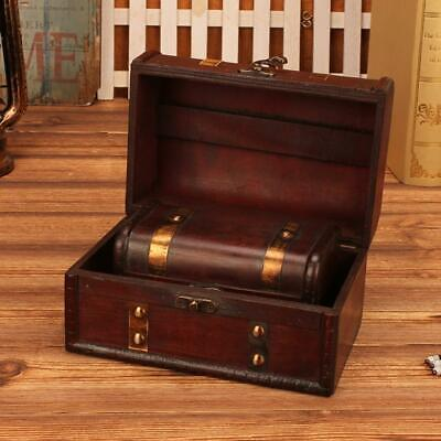 2 Pcs Vintage Small Jewelry Storage Treasure Chest Handmade Wood Box Case