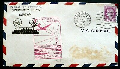 1939 1st Flight Transatlantic Cover, France to Portugal to USA, Red rubber Stamp