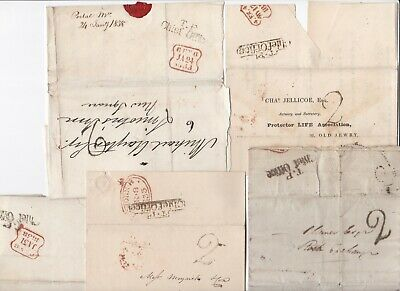 # 1831/38 5 Tp Chief Office London Letters (4) & Wrapper Insur Greek Pre-Stamp