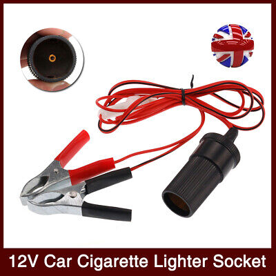 Car Power Lead Cable Cigar Connector Lighter Socket To Battery Crocodile Clips