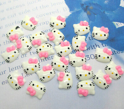 50Pcs Pink Cats Resin Beads Decoration Crafts Flatback Cabochon Scrapbooking Fit