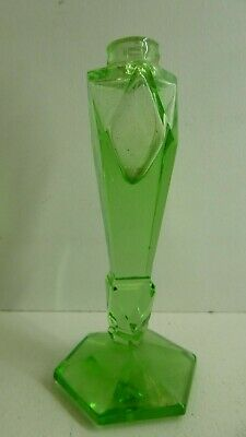 Vintage Art Deco Green Glass Scent Perfume Bottle