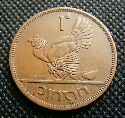 1952 Irish One Penny Minted Old Ireland Hen And Chicks Celtic Harp Lucky 1d