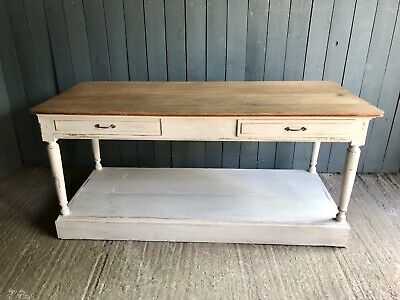 French Oak 12 Drawer Drapers Antique Table Vintage Kitchen Island C1880