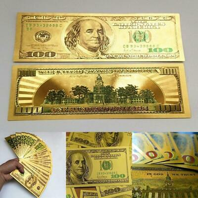100 Dollars Money Collection Gold Foil Dollar Commemorative Banknote EN24H 01
