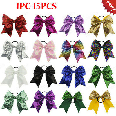 14PCS/1PC Full Sequin Bling Cheer Hair Bow Elastic Band Cheerleading Baby Girl K