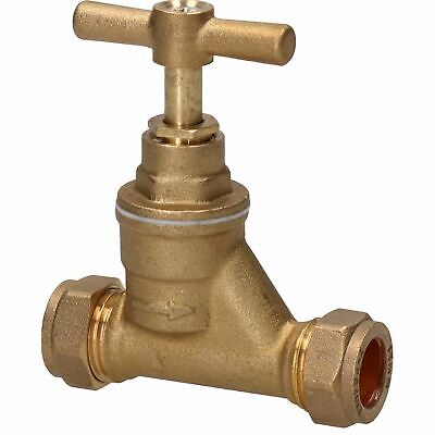 Brass Stop Cock 15mm Pipe Mains Water Supply Control Valve Compression Fitting