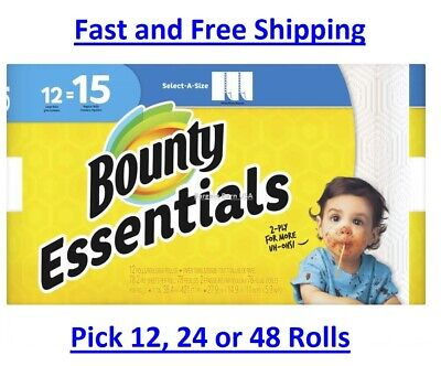 Bounty Essentials Paper Towels, Select-A-Size 12, 24 OR 48 Rolls, NEW