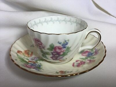 Minton Bone China Swirled Cup And Saucer England
